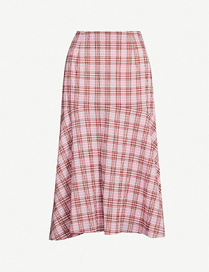 WHISTLES Checked seersucker midi skirt