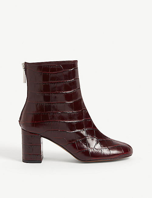 WHISTLES Bartley croc-embossed leather ankle boots