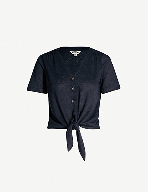 WHISTLES Buttoned tie-front linen top