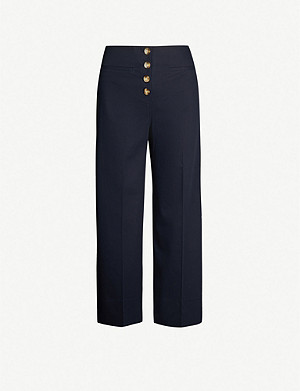 WHISTLES Heidi button-front cotton-blend trousers