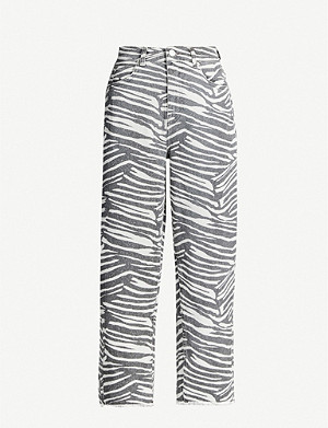 WHISTLES Zebra-print wide high-rise jeans