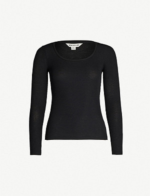 WHISTLES Scoop-neck stretch-jersey top