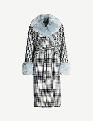 WHISTLES Faux fur-trimmed checked wool-blend coat