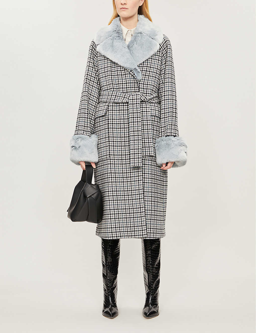 WHISTLES: Faux fur-trimmed checked wool-blend coat