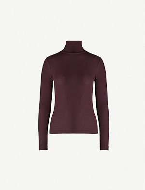 WHISTLES Turtleneck stretch-jersey top