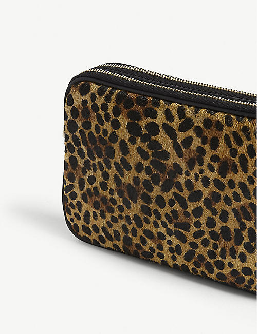 WHISTLES Cami leopard-print leather cross-body bag