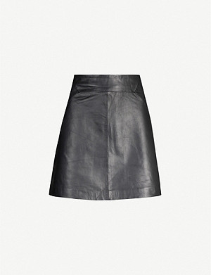 WHISTLES A-line leather mini skirt