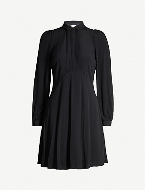 WHISTLES Pintuck crepe shirt-dress