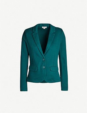 WHISTLES Single-breasted fitted cotton-knit blazer
