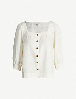 WHISTLES Square-neck linen top