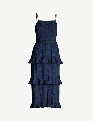 WHISTLES Ruffle-tiered crepe dress