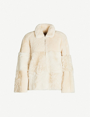 WHISTLES Hema faux-fur panelled shearling coat