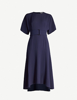 WHISTLES Belted stretch-crepe midi dress