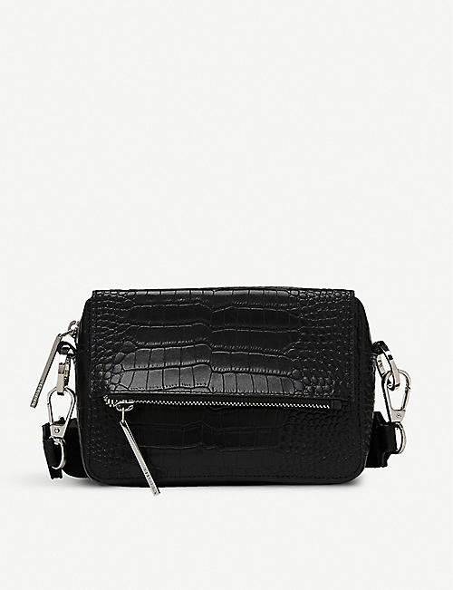 WHISTLES: Millie croc-embossed leather cross-body bag