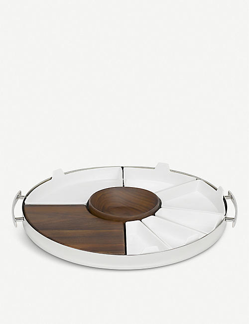 CHRISTOFLE: MOOD polished steel, walnut and porcelain tray