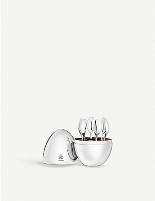 CHRISTOFLE: Mood Espresso silver-plated spoons in silver-plated egg set of six