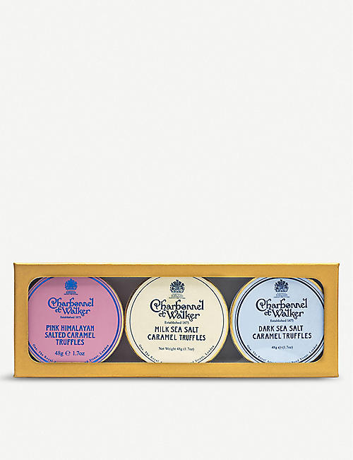 CHARBONNEL ET WALKER Mini Sea Salt Trio with Pink Himalayan chocolate truffles set of three 45g