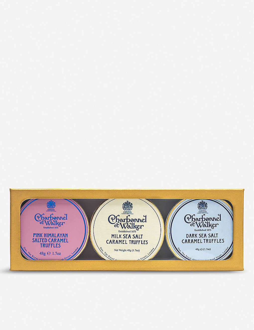 CHARBONNEL ET WALKER: Mini Sea Salt Trio with Pink Himalayan chocolate truffles set of three 45g
