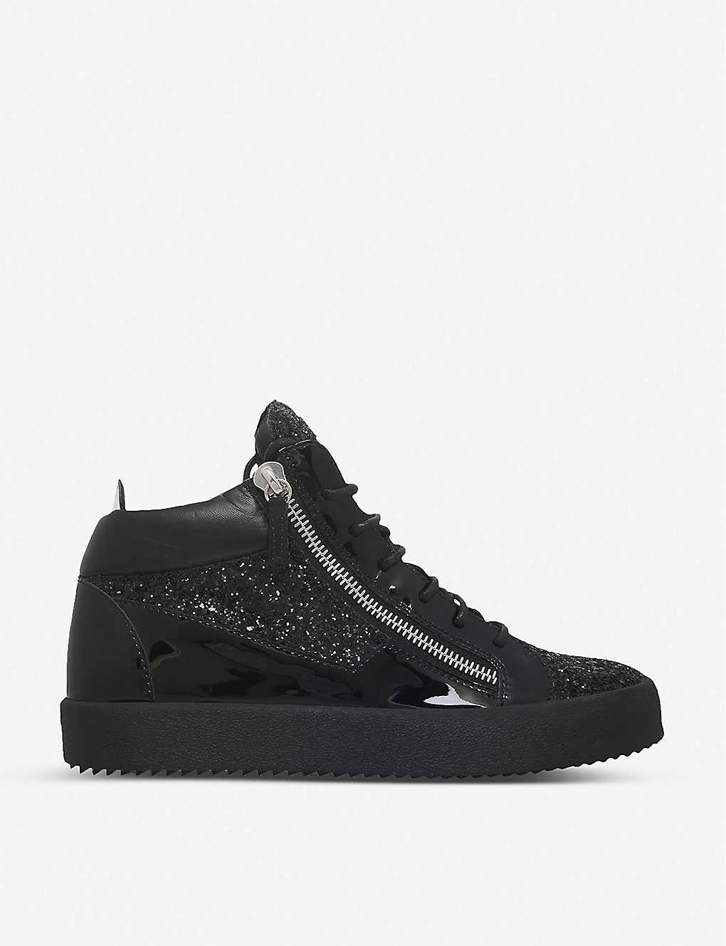 d5650810a7ed4 GIUSEPPE ZANOTTI - Mid-top leather and glitter trainers | Selfridges.com