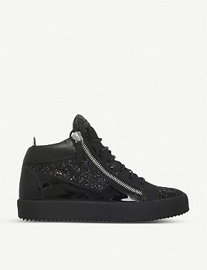 GIUSEPPE ZANOTTI Mid-top leather and glitter trainers