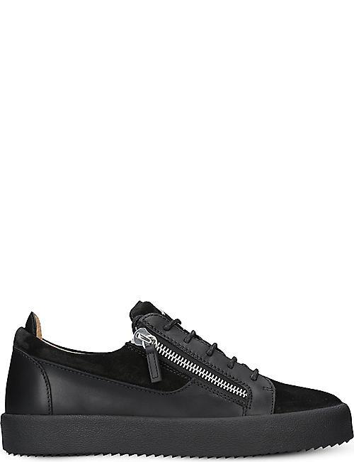 GIUSEPPE ZANOTTI Panelled leather trainers c6cdf52a6b1c