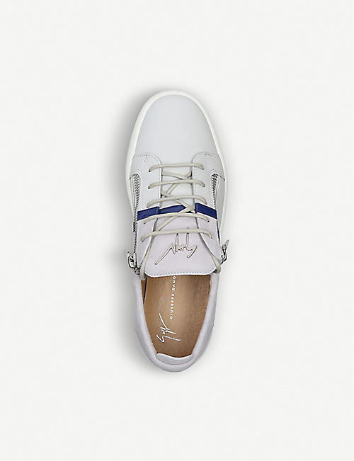 GIUSEPPE ZANOTTI Two-tone leather and suede trainers