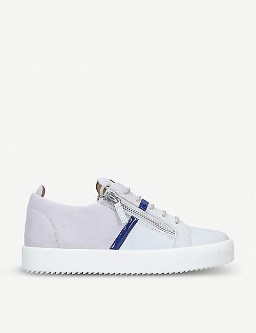 e362bf483e305 GIUSEPPE ZANOTTI Two-tone leather and suede trainers