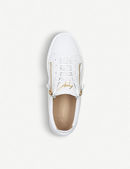 GIUSEPPE ZANOTTI Reptile-embossed leather trainers