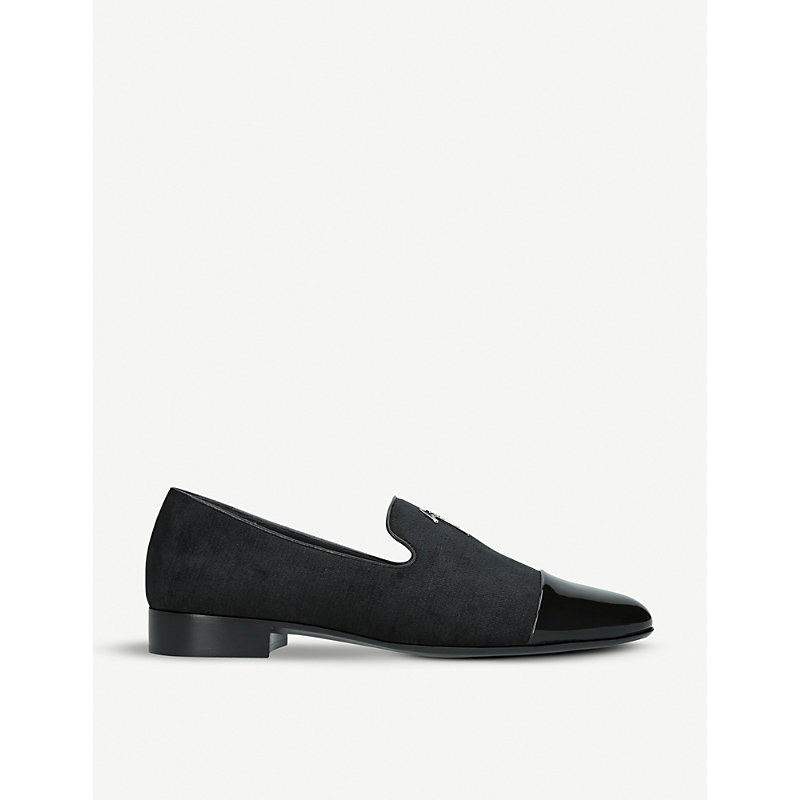 GIUSEPPE ZANOTTI | Logo-Detail Fabric And Patent-Leather Loafers | Goxip