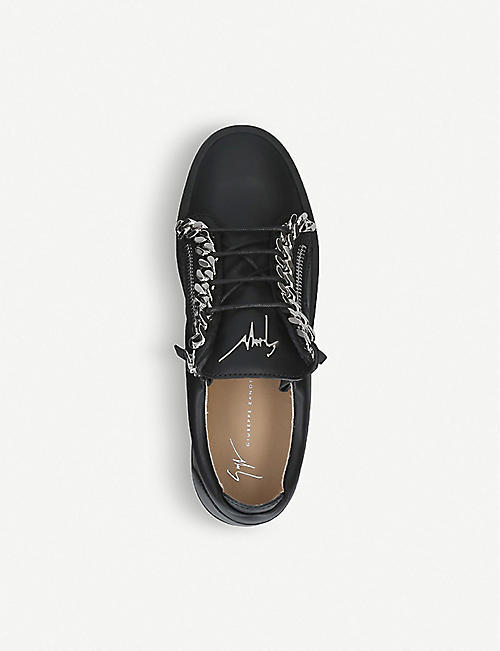GIUSEPPE ZANOTTI Chain-embellished leather trainers