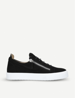 GIUSEPPE ZANOTTI Zip-embellished suede trainers