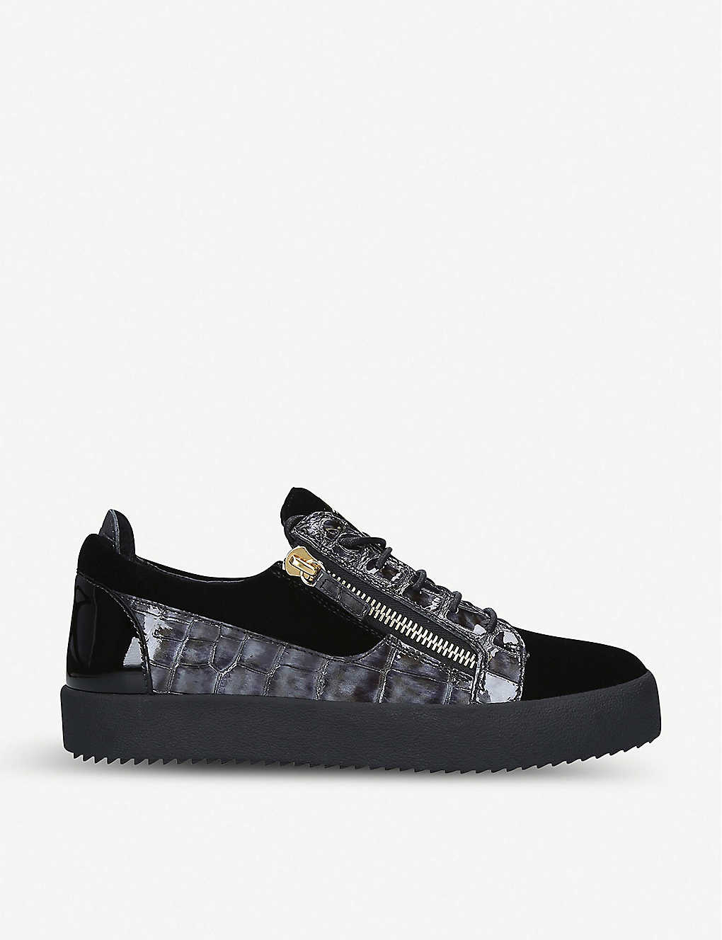 Giuseppe Zanotti Shoes Velvet and crocodile-embossed leather trainers