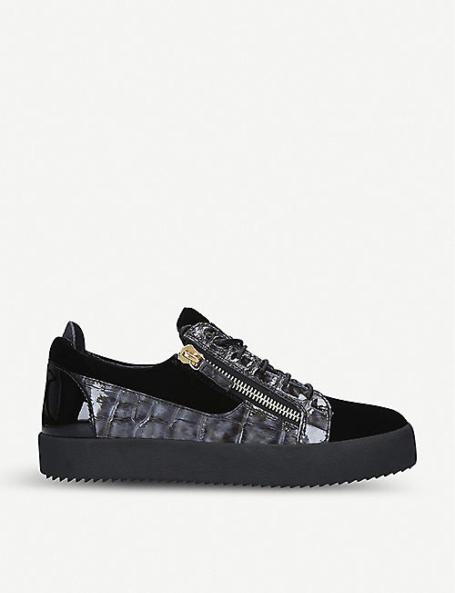 GIUSEPPE ZANOTTI Velvet and crocodile-embossed leather trainers