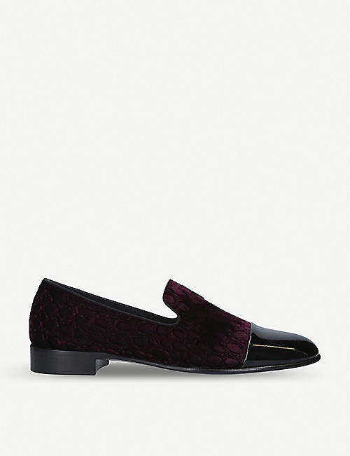 GIUSEPPE ZANOTTI Quilted velvet and patent leather loafers