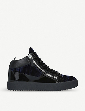 GIUSEPPE ZANOTTI Velvet and patent leather trainers