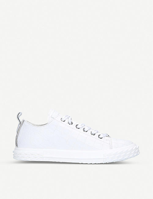 GIUSEPPE ZANOTTI: Blabber crocodile-embossed leather trainers