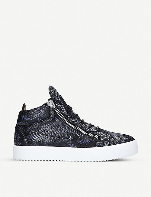 GIUSEPPE ZANOTTI: Kriss croc-embossed leather high-top trainers