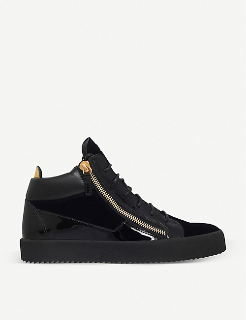 GIUSEPPE ZANOTTI Kriss velvet and patent leather trainers