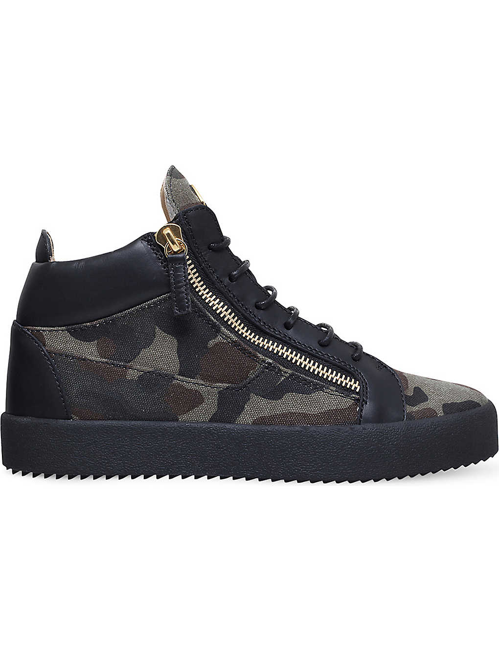 b147292ed85a9 GIUSEPPE ZANOTTI Kriss camo-print canvas and leather mid-top trainers
