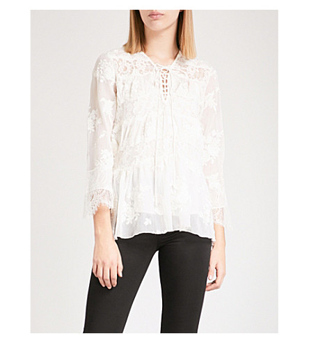 c3befefcb8e THE KOOPLES - Embroidered lace and chiffon top | Selfridges.com