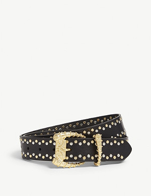 THE KOOPLES Studded leather belt with horn buckle