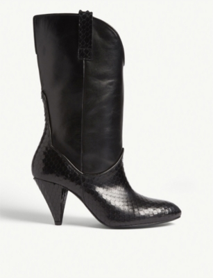 THE KOOPLES Python-embossed leather ankle boots