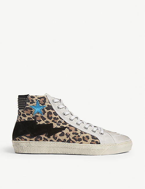 THE KOOPLES Leather and suede hi-top trainers