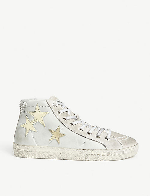 THE KOOPLES Star appliqué leather hi-top trainer