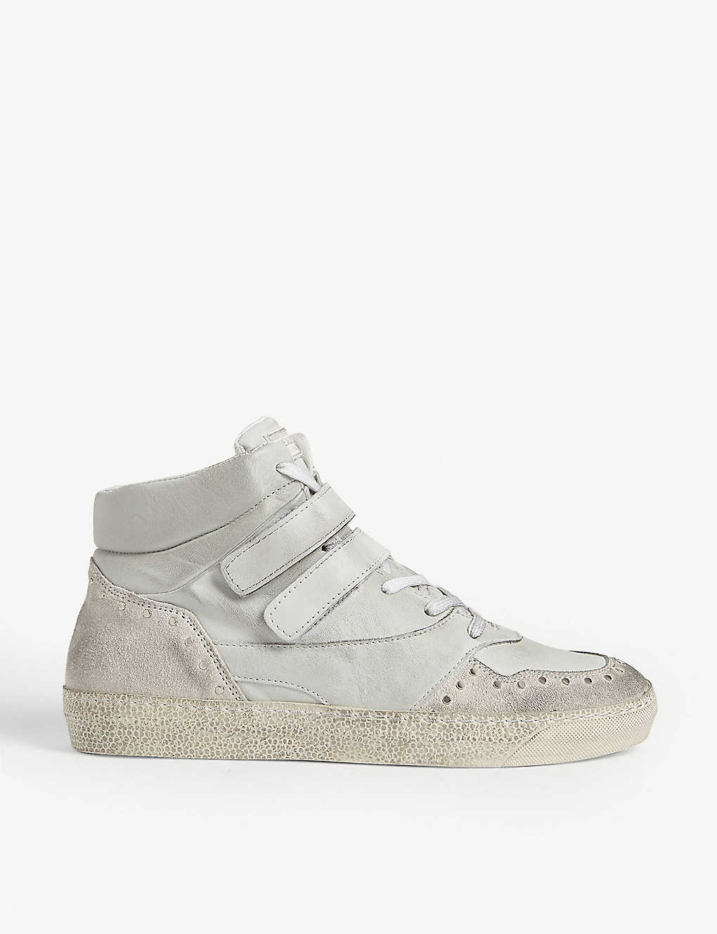 THE KOOPLES: Distressed leather and suede high-top trainers