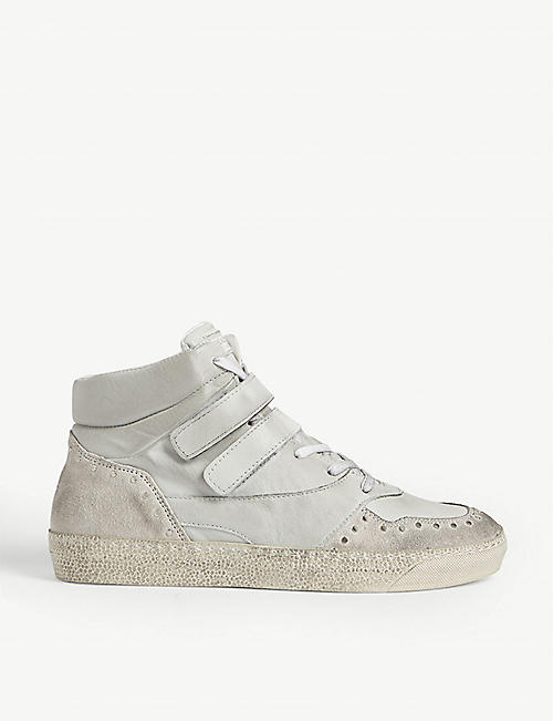 THE KOOPLES Distressed leather and suede high-top trainers