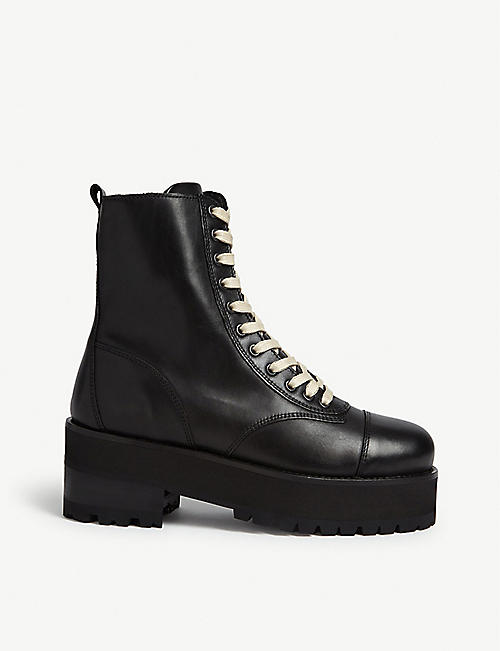 THE KOOPLES Leather platform lace-up boots
