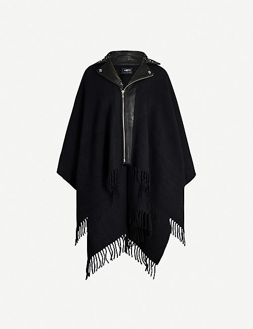THE KOOPLES Leather and wool zipped poncho