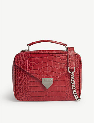 THE KOOPLES: Croc-embossed leather shoulder bag