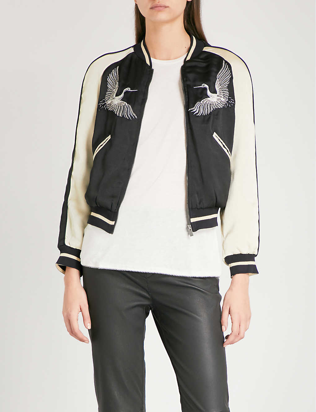 fa1e6d247 THE KOOPLES - Bird-embroidered satin bomber jacket | Selfridges.com